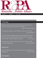 Rhetoric & Public Affairs 21, no. 3