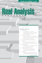 Real Analysis Exchange 46, no. 1